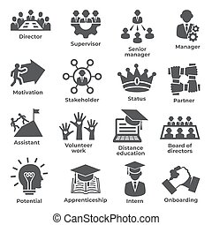 Leadership icons on white background
