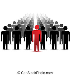illustration of people following leader on white background