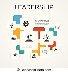 Leadership Infographic 10 line icons template. ...