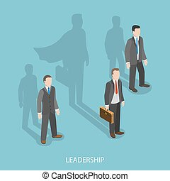 Leadership isometric flat vector concept. Three businessmen...