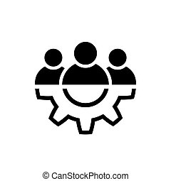 Leadership line icon in flat style Teamwork symbol