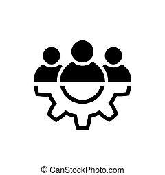 Leadership line icon in flat style Teamwork symbol