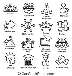 Leadership line icons on white background