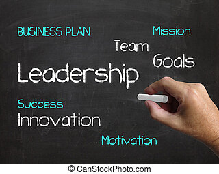 Leadership on Chalkboard Shows Authority Guidance and Vision