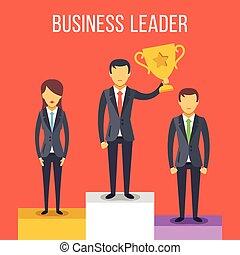Leadership. People on pedestal