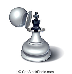 Leadership potential and emerging business confidence with a chess game king figurine revealed inside a large pawn figure disguise as a concept for planning a strategy of successful management on white.