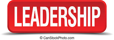 Leadership red 3d square button isolated on white
