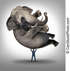 Leadership solutions business concept with a take charge businessman lifting a huge elephant as a symbol of a strong leader with courage and determination to release the power within and achieve what is impossible.