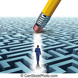 Leadership Solutions with a businessman walking through a complicated maze opened up by a pencil eraser as a business concept of innovative thinking for financial success.