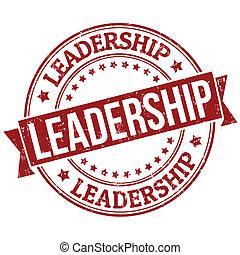 Leadership grunge rubber stamp on white, vector illustration