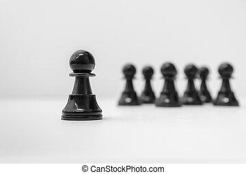 leadership., standing, scacchi, pegno, folla., fuori