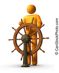 3D rendered stick figure captain using yacht.