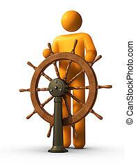 Leadership - Steersman - 3D rendered stick figure captain...