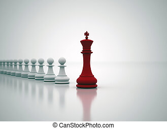 Leadership - Succes in business - chess King in front