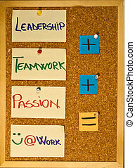 Leadership, teamwork and passion - Post it notes on a wooden...