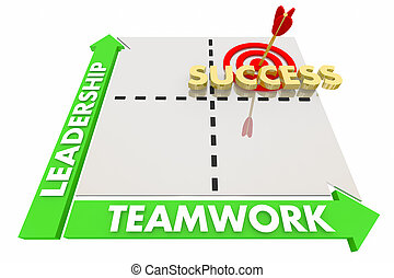 Leadership Teamwork Goals Achieved Success Matrix 3d Illustration