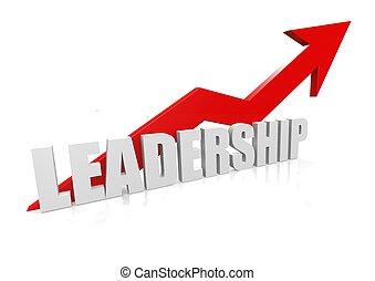 Leadership with upward red arrow