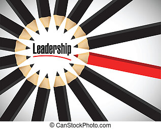 leadership word around a set of colors. illustration design over white