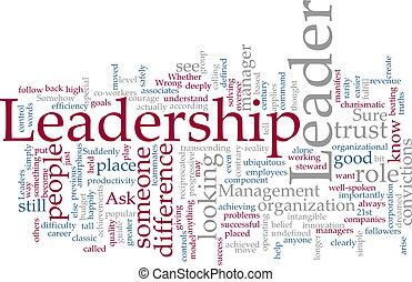 Leadership word cloud - Word cloud concept illustration of...