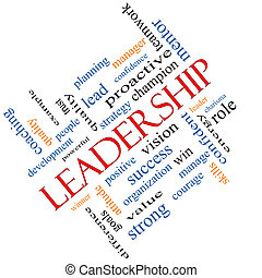 Leadership Word Cloud Concept Angled