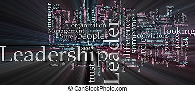 Leadership word cloud glowing - Word cloud concept ...