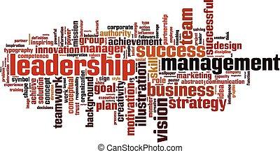 Leadership word cloud vertical concept. Vector illustration