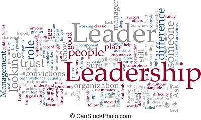 Word cloud concept illustration of leadership management