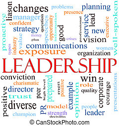 An illustration around the word leadership with lots of different terms such as vision, win, quality, changes, planning, lead, new exposure, strength, peer, well spoken, strategy, opportunity and a lot more.