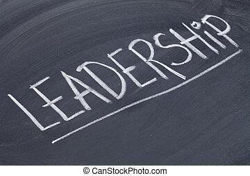leadership word on blackboard