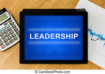 leadership word on digital tablet