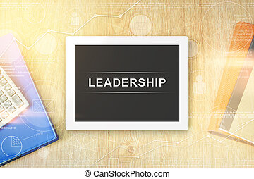 leadership word on tablet