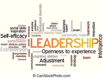 Leadership word cloud collage, business concept background