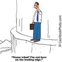Leading Edge - Business cartoon about being on the leading...