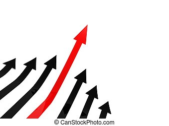 Leading red arrow - Rendered artwork with white background