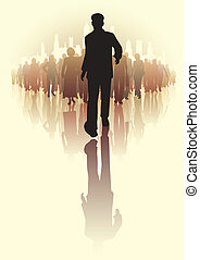 Leading the way - Editable vector illustration of a ...
