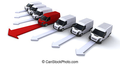 Image showing a fleet of vans with one leading the way