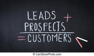 Leads, prospects, customers formula chalk drawing on dark ...