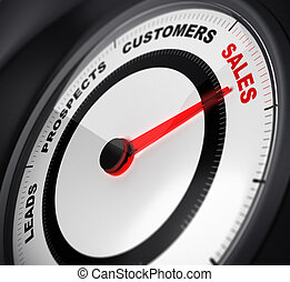 dial with red needle pointing on the word sales, concept image suitable for leads conversion purpose.