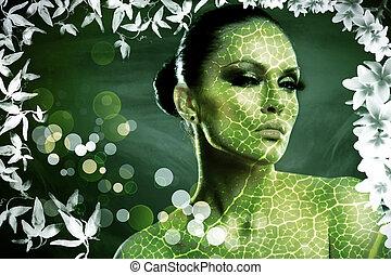 leaf., abstrakt, weibliche , porträt, mit, natürlich, hintergrund