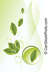Leaf and bubbles on the abstract background. Vector...