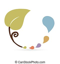 Leaf and colorful water drop icon, abstract symbol