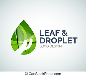 Leaf and droplet logo made of color pieces - Abstract leaf...