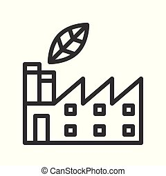 leaf and factory, Flat icon of clean energy and save environmental concept