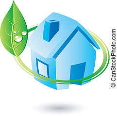 Leaf and home. - .Single eco icon. Vector illustration.