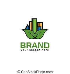 Leaf and house logo vector. Green Home