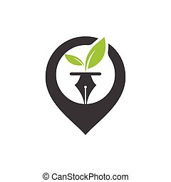 Leaf and pen logo design. Pin with leaf and nab icon design...