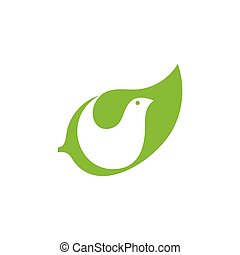 leaf bird negative space logo vector