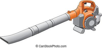 Illustration of an orange and black leaf blower.