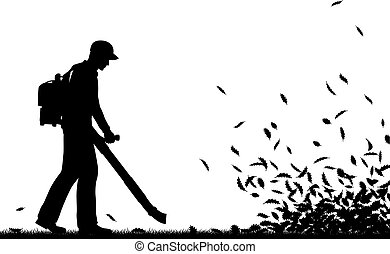 Leaf blowing - Editable vector silhouette of a man using a ...
