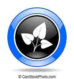 leaf blue and black web glossy round icon